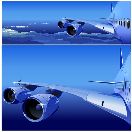 commercial airplane: Vector Airbus in the Sky