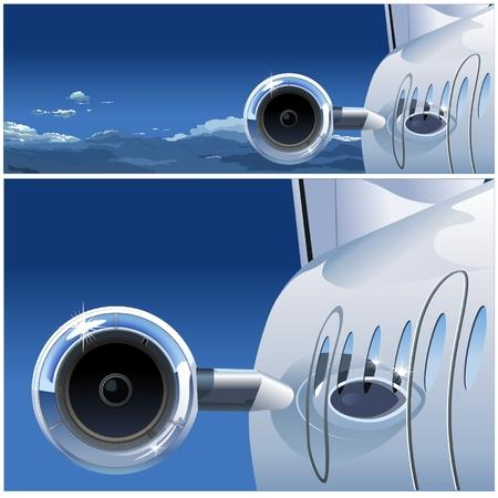 turbine engine: Vector airplane in the Sky