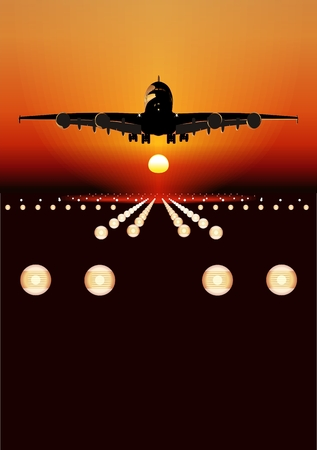 airplane landing: Vector Airbus A-380 landing at sunset