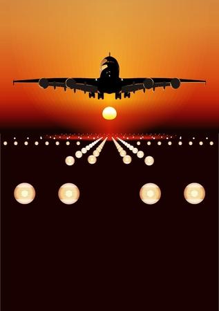 boeing: Vettore Airbus A-380 atterraggio al tramonto