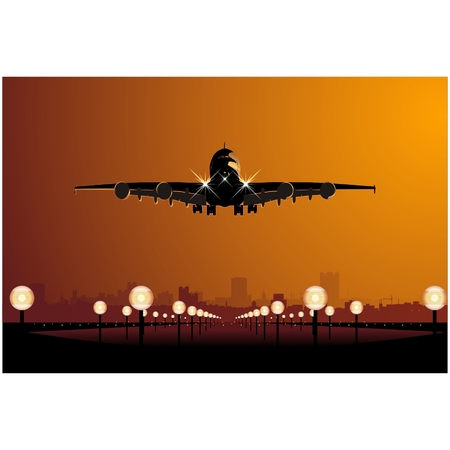 Vector airbus landing at sunset Stock Photo - 4560598