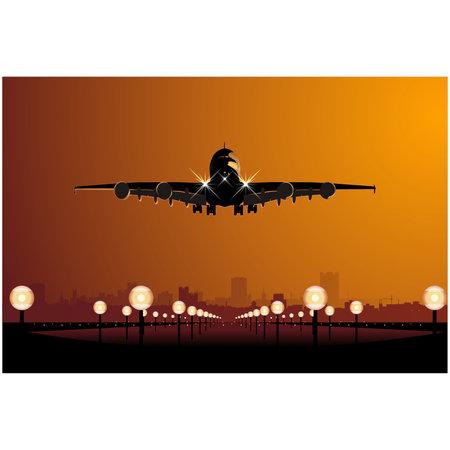 'take: Vector airbus landing at sunset
