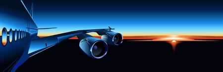 business class travel: Vector Airbus a sunrise Vettoriali
