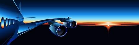 private jet: Vector airbus at sunrise