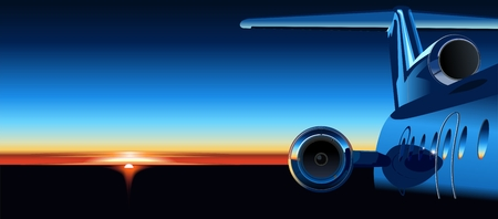 business class travel: Vector aircraft at sunrise