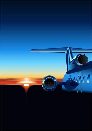 Vector aircraft  at sunrise Vector