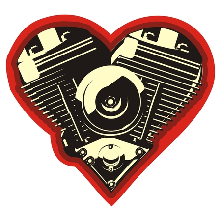 harley: Vector motorheart Stock Illustratie