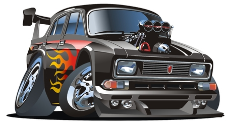 Vector retro cartoon hotrod Stock Vector - 4737503