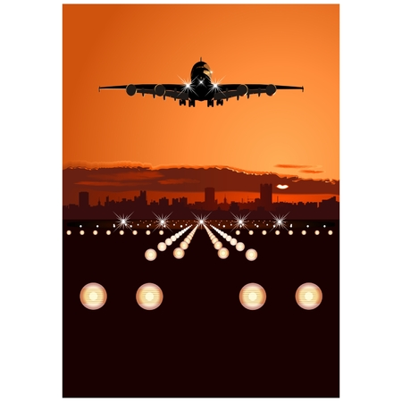 moody: Vector airliner a-380 landing at skyline Illustration