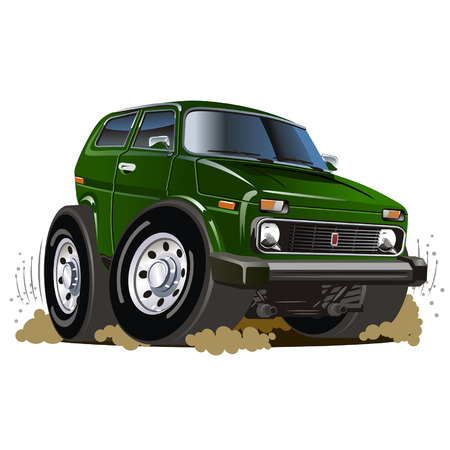 Vector cartoon jeep Illustration