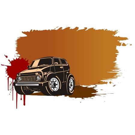 graffiti brown: Cartoon vector veh�culo off-road