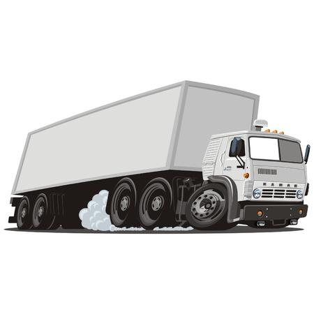 semi truck: Vector cartoon cargo semi truck