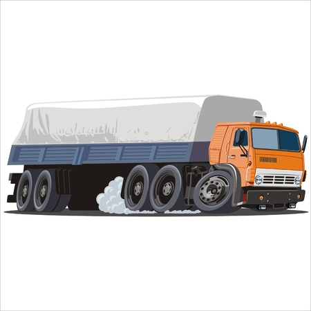 semi truck: Vector cartoon cargo semi truck