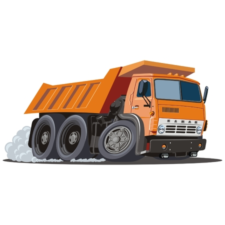 vector cartoon: Vector cartoon discarica camion