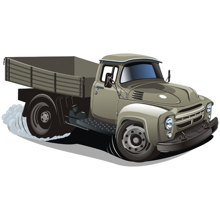 Vector cartoon delivery  cargo truck Illustration
