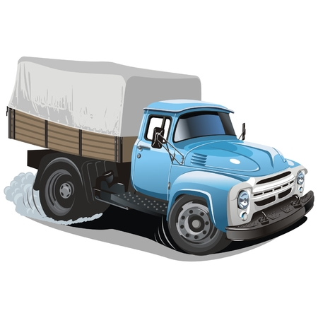 vector tyre: Vector cartoon delivery  cargo truck Illustration