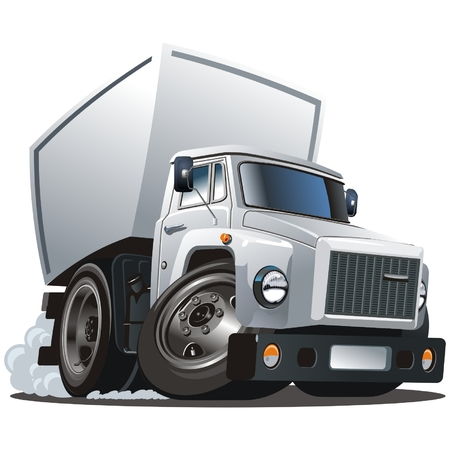 loading truck: Vector cartoon delivery  cargo truck Illustration
