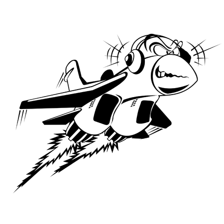 bombing: Vector cartoon jet-fighter vliegende luisteren muziek
