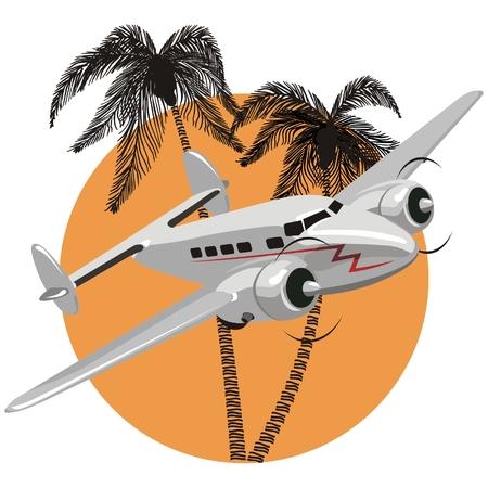 航空機: ベクトル漫画のレトロな飛行機