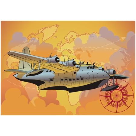 retro styled: Vector retro seaplane