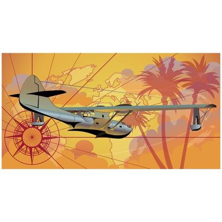 Vector retro seaplane Vector