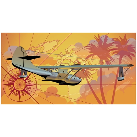 Vector retro seaplane Vector
