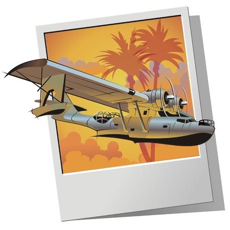 retro sunrise: Vector retro seaplane