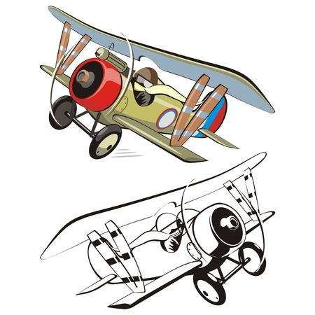 warlike: Vector cartoon biplane
