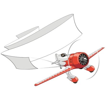 航空ショー: 白紙の横断幕とベクトルのレトロな飛行機  イラスト・ベクター素材