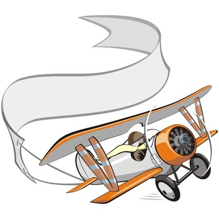 航空ショー: 白紙の横断幕とベクトル漫画複葉機