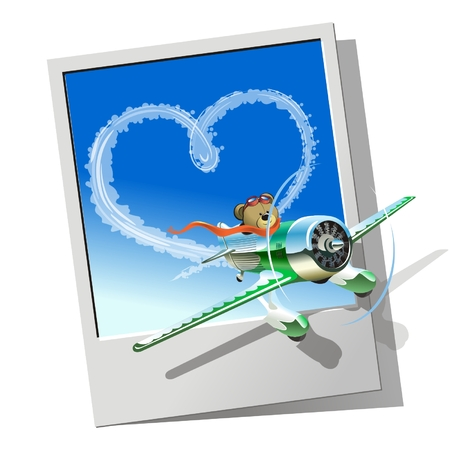 Vector racing airplane sending love message Vector