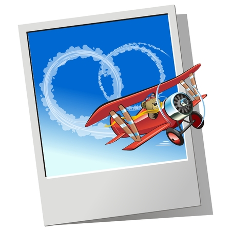 Vector retro airplane sending wedding message Vector