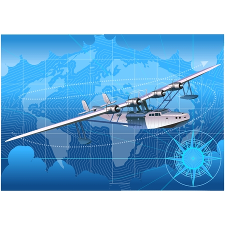 Vector retro seaplane Stock Vector - 5498194