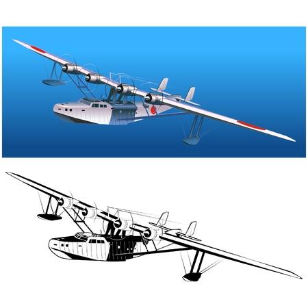Vector retro seaplane 30-s