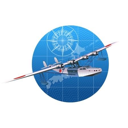 Vector retro hydroplane 30-s.  Illustration