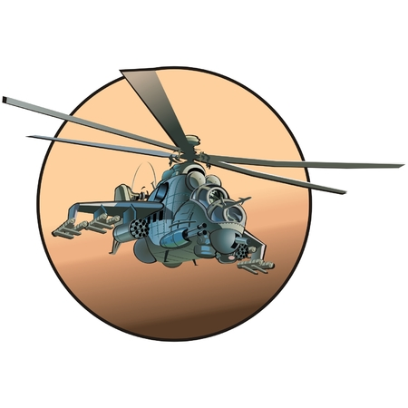 helicopters: Vector cartoon strike helicopter