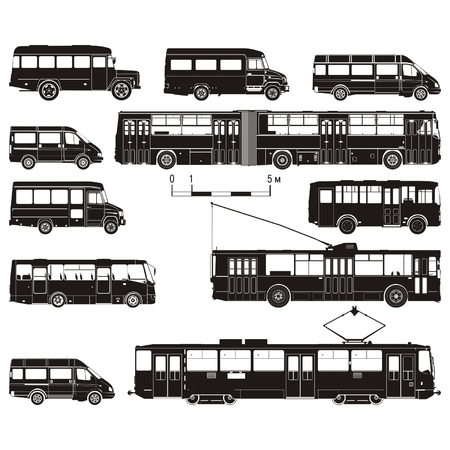 hi-detailed public transportation set Vector