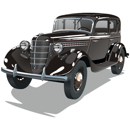 oldtimer: black vintage car Illustration