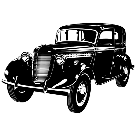 scheinwerfer: Vektor retro Auto silhouette Illustration