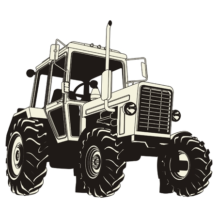 truck tractor: Detailed tractor silhouette Illustration