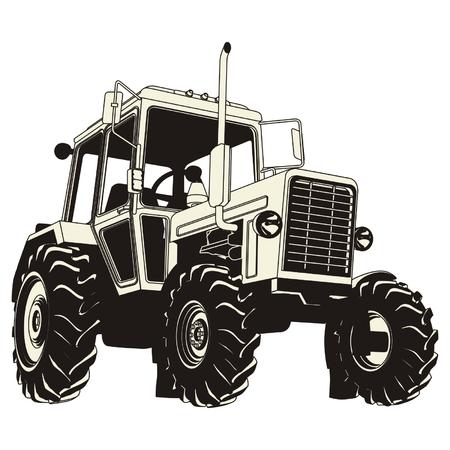tractores: Silueta detallada de tractor