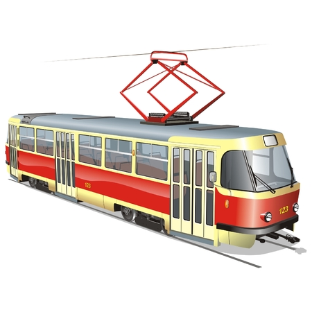 mode of transportation: Tram urbano vettoriale