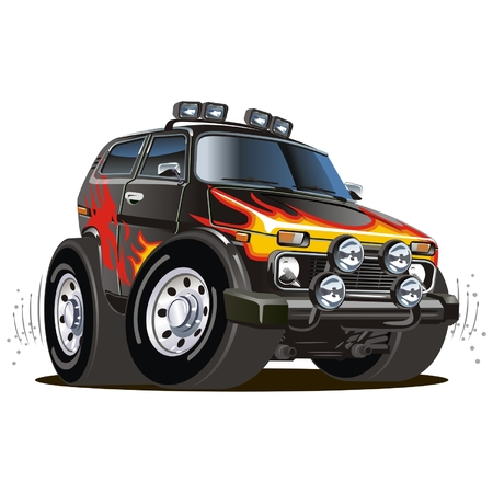 4x4: Jeep Cartoon Vector