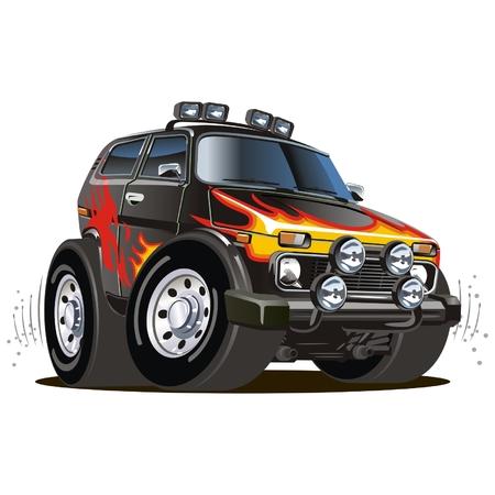 extreme terrain: Vector cartoon jeep Illustration