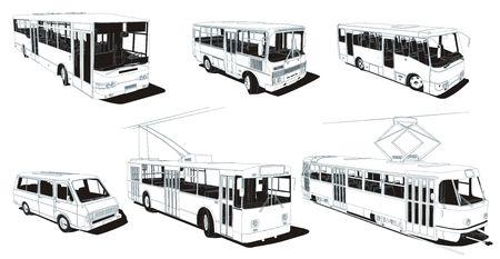 trolleybus: Public urban transport set Stock Photo