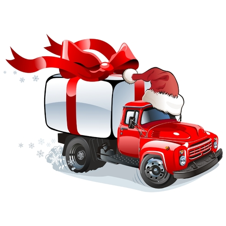Christmas delivery  cargo truck Vector