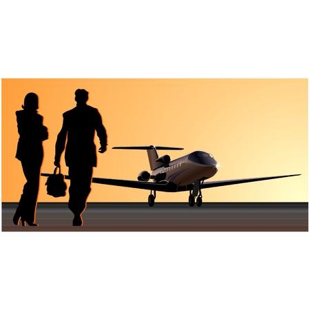 view from the plane: Vector business-jet en la pista Vectores
