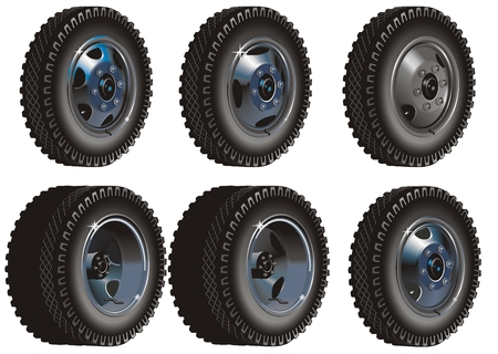 Truck wheels set Stock Vector - 6466809