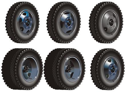 Truck wheels set Stock Vector - 6466809