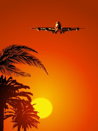 Airliner on sunset sky Stock Vector - 6797362